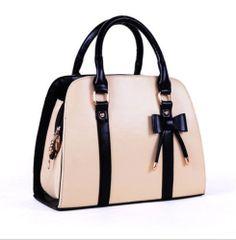 New Fashion Korean Style Womens Faux Leather Handbag Shoulder Bag Beige LZF06