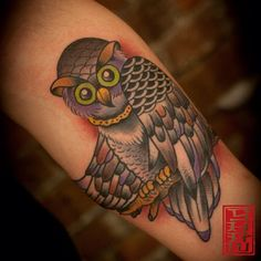 Tattoo by Stephen Shaw #owltattoo #owltattoos #gastowntattoo #traditionaltattoos