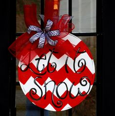 Door Hanger: Chevron Ornament, Christmas Decor, Christmas Door Hanger, Holiday Decor. $45.00, via Etsy.