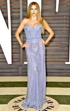 Sofia Vergara sizzled in a periwinkle blue Zuhair Murad dress with a sweetheart neckline, intricately beaded from top to bottom at the Vanity Fair Oscar Party 2015 on Feb. 22, in Beverly Hills!