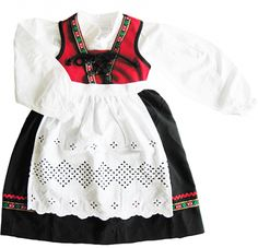 Traditional Norwegian Costume for Christmas Little Girl Christmas Dresses, Little Girl Outfits, Norwegian Clothing, Swedish Traditions, Frozen Costume, My American Girl, Couture, Toddler Dress, Traditional Dresses