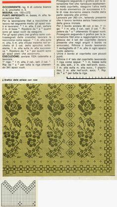Professione Donna: Lo stile Vintage: Copriletto bianco lavorato a filet noccioline, con rose