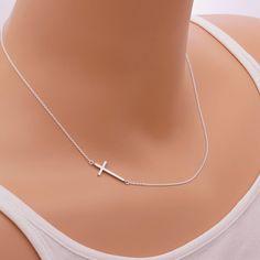 Sideways Cross Necklace / on the side minimalist by CreBijoux