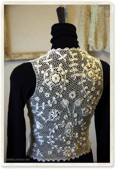 antique Irish crochet lace vest