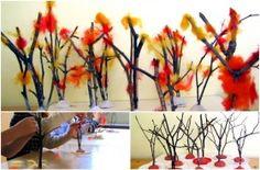 Decoracion otoñal con ramas secas