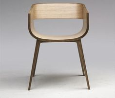 Steam bent plywood and solid oak chair