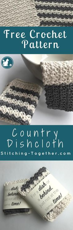 Wouldn't these country dishcloths look perfect in your farmhouse kitchen? They add the perfect rustic DIY touch for any farmhouse style. Free crochet pattern.