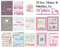 Happy Mother's Day To All ~ 34 Free Mother's Day Subway Art Printables