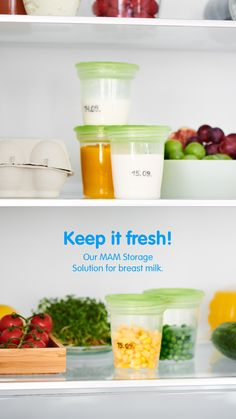 With the MAM Storage Solution building up reserves of breast milk has never been easier! They can be cleaned and sterilized as often as needed and are ideal for storage in a refrigerator and chest-type freezer. ✅ Clean Bottle, Milk Cans, Baby Food Recipes, Storage Solutions, Glass Bottles, Freezer, Refrigerator, Breast, Type