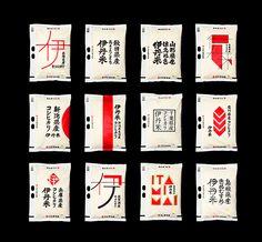 伊丹米 日本知名設計師佐藤可士和作品,整體包裝以純粹的紅、黑及少許金色點綴維持一致性之外,也針對不同產地做出多樣的幾何造型設計。 image resource/http://goo.gl/nHbi2a Design by 佐藤可士和