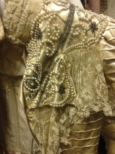 Gorgeous beaded and embroidered front panel edges with lace