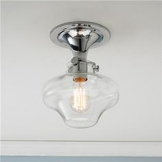 $198  Modern Clear Schoolhouse Globe Ceiling Light - 4 Finishes