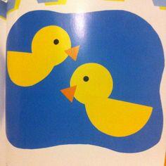Duck pond craft for preschool farm. 2x sm circles, 1x large circle cut in 1/2…