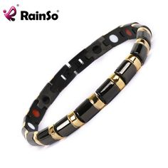 Rainso 2017 Health Bracelet Bangle Healing Magnetic 316L Stainless Steel Bracelet For Men Or Women With FIR And Magnetic