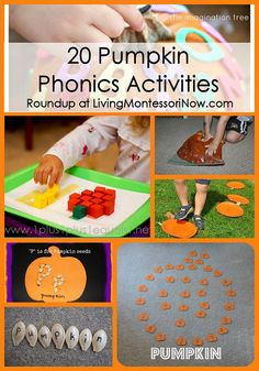 Huge collaboration of Kid Blogger Network roundups, including 20 pumpkin phonics activities and Montessori phonics resources