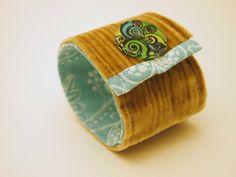 Upcycled corduroy fabric cuff bracelet wristlet by PurdyEveryday