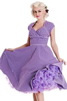 Lazy River Purple Gingham 50's Dress by Hell Bunny. A 40th Birthday present from my sisters!