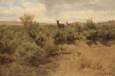 Rosa Bonheur - Cerf et biche dans un paysage