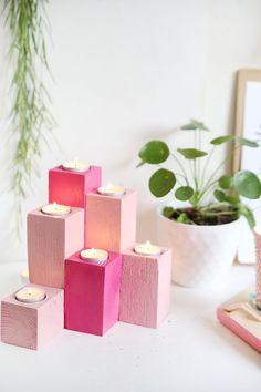 Kreative Herbstidee zum selbermachen: Lichtertreppe für Teelichter aus Holz einfach selbstgemacht aus Vierkanthölzern mit Step by Step Anleitung