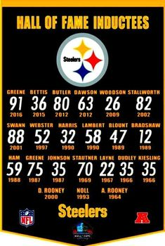Steelers Hall of Fame Inductees Pitsburgh Steelers, Here We Go Steelers, Pittsburgh Steelers Football, Pittsburgh Sports, Dallas Cowboys, Steelers Images, Steelers Stuff, Nfl Sports, Pittsburgh Penguins