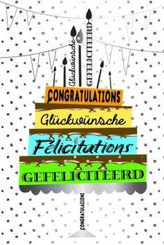 hartelijk gefeliciteerd alle talen Congratulations Félicitations Gefeliciteerd Glückwünsche  hartelijk gefeliciteerd alle talen