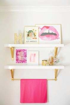 Monika & Troy Hibbs home featured in Style At Home Tracey Ayton Photography Pink Shelves, Style At Home, Teen Girl Rooms, Tween Girls, Home Fashion, My New Room, Room Inspiration, Office Decor, Home Decor Ideas