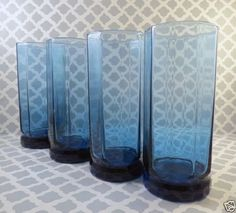 4-Vintage-Anchor-Hocking-Blue-Essex-10-Panel-Glasses-Tumblers-6-5-034-Iced-Tea