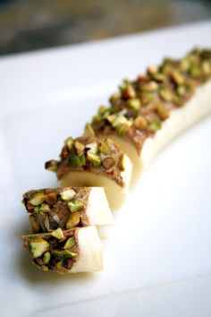 All You Need Is 4 Ingredients to Make This Healthy Snack: banana, almond butter, cinnamon, pistachios