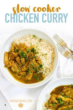SLOW COOKER CHICKEN CURRY RECIPE - This healthy Slow Cooker Chicken Curry is SO incredibly easy. No browning, no preparation. Just leave it to bubble away in the Crock Pot and come home to the most delicious, creamy but light, coconut milk curry. Perfect for families, this fruit curry is a winner! #tamingtwins #chickenrecipes #curryrecipes #slowcookerecipes Slow Cooker Chicken Healthy, Slow Cooker Recipes, Yummy Chicken Recipes, Yum Yum Chicken, Toddler Food, Toddler Meals, Curry Recipes, Coconut Milk Curry, Indian Curry