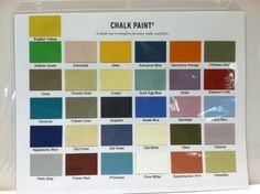 Hand Painted Chalk Paint® Color Chart - all 31 colors of Chalk Paint® decorative paint by Annie Sloan.  The best way to see the actual paint colors.  The perfect tool for color selection of Chalk Paint® colors and various combinations.