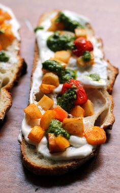 honey chipotle-roasted parsnip and carrot crostini with whipped ricotta and pesto   Eats Well with Others