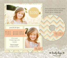 Mini Session Marketing Board Blog PLUS Disc Label Template for Photographers INSTANT DOWNLOAD