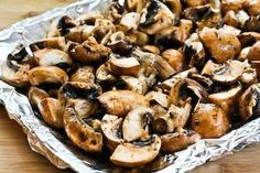 Garlic, Thyme & Balsamic Vinegar Roasted Mushrooms. Omit oil or substitute with coconut oil if allowed.
