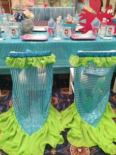 Check out these mermaid tail chairs at a Little Mermaid girl birthday party!  See more party ideas at CatchMyParty.com!