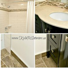 Almond Or Bone Bathroom Update Ideas With Porcelain And Subway Tile And Dark Wood Vanity