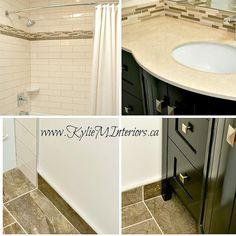 almond or bone bathroom update ideas with porcelain and subway tile and dark wood vanity - Bathroom Update Ideas