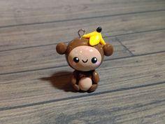 Kawaii Monkey Polymer Clay Charm