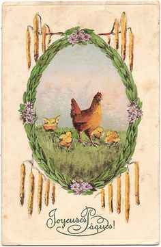 Vintage postcard, Easter greetings #chicken #chickens