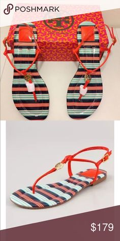 Tory Burch NWT size 10.5 habanero pepper sandals Brand New in Box TORY BURCH Emmy patent sandals. Red, Teal and Navy with Gold Tory Burch logo. Habenero Pepper / Bauer Stripe design. Fits true to size. Perfect for poolside or a summer cocktail party. Tory Burch Shoes Sandals