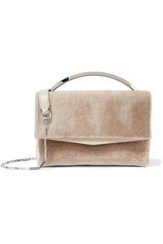 Boyd Vanity leather-trimmed velvet shoulder bag