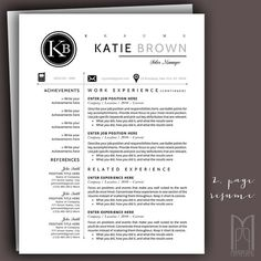 Resume Template and Cover Letter Template by MYPAPERPIG on Etsy Modern Resume Template, Creative Resume Templates, Cover Letter For Resume, Cover Letter Template, Resume Writing Tips, Thank You Letter, Professional Resume, Free Resume, Good To Know