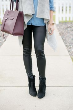 Leather Leggings outfit #winterfashion #winteroutfit #outfitidea