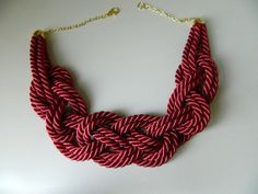 Wine Red Sailor Knot /Japanese Knot Necklace/choker, Rope Necklace, Nautical Necklace, bib necklace. $20.00, via Etsy.