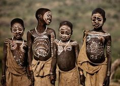 Ethiopians tribes of Suri, Mursi and Me'en that inhabit the southwestern part of the country are known as Surma. Here Surma children are displaying their body paints.