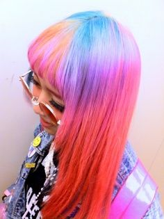 pastels - noticed the pastel pink hair trend? Neon Hair, Pastel Hair, Pastel Pink, Pink Hair, Pink Blue, Multicolored Hair, Colorful Hair, My Little Pony Hair, Locks
