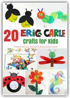 20 Cute and Colorful Eric Carle Crafts for Kids Eric Carle's pictures are how many children the world over are introduced to art. Celebrate this incredible artist with these Eric Carle Crafts for Kids. Kindergarten Art, Preschool Crafts, Preschool Books, Crafts For Girls, Kids Crafts, Easy Crafts, Book Crafts, Arts And Crafts, Craft Books