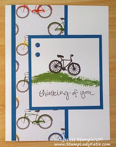 Card made with Stampin'UP!'s Sheltering Tree Stamp Set and Schoolhouse Designer Paper art design landspacing to plant Card Making Inspiration, Making Ideas, Bicycle Cards, Masculine Birthday Cards, Kids Birthday Cards, Stamping Up Cards, Rubber Stamping, The Draw, Get Well Cards
