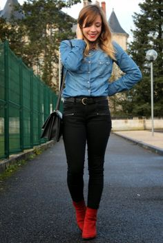 Denim shirt + red shoes