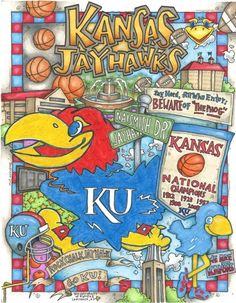 My awesome neighbor Tim drew this! Kansas Basketball, Basketball Teams, Kansas Football, University Of Kansas, Kansas City, Ku Sports, Go Ku, U Rock, Kansas Jayhawks