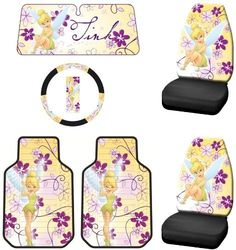 Tinker Bell Dream Land Fairy w/ Flowers Disney Tink Front Seat Car Truck SUV PlastiClear Floor Mats w/ Two Universal-fit Seat Covers & Steering Wheel Cover w/ Accordion Style Sun Shade - 6PC by Tinkerbell, http://www.amazon.com/dp/B008OJBTJA/ref=cm_sw_r_pi_dp_64Opsb1ZPNQDN